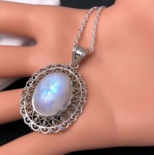 Classic 925 Sterling Silver Moonstone Oval Gemstone Necklace Pendant Gift Boxed