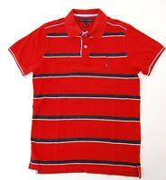 Tommy Hilfiger Poloshirt Polohemd Herren Gr.M rot gestreift Piquè -S1087