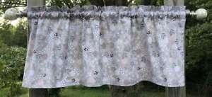 Woodland Wildflower Floral Gray RV Camper Kitchen Bath Bedroom Cotton Valance