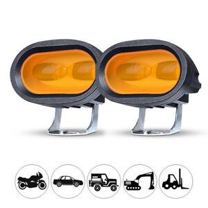 2X LED Work Light Amber Fog Bar Driving Pod Spot Lamp Offroad SUV Motorcycle ATV