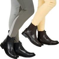 Horse Riding Equi Leather Ladies Front Zip Jodhpur Boot Black Brown SizeS UK 3-8