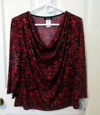 MSK Black Red Sequins Graphic Print Top Cowl Neck Size Med, Holiday