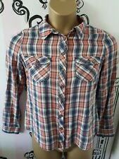 Womens Size 12 New Look Long Sleeve Check Shirt Pink Blue 100% Cotton