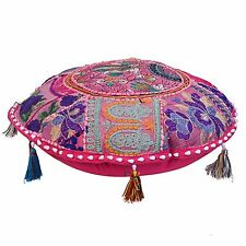 Cotton Round Ottoman Pouf Cover Patchwork Embroidered Floral Floor Cushion Throw