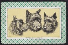 1 Single VINTAGE Swap/Playing Card DOG TRIO SCOTTIE HEADS 'THREE OF A KIND' Art