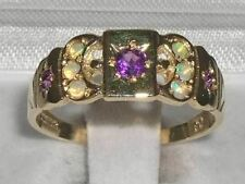 9K Yellow Gold Ladies Amethyst & Opal Eternity Medieval Style Band Ring