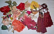 Vintage Flowers Hat Millinery/Tassels/Wire On Bird/Boutonniere Corsage Trim Lot