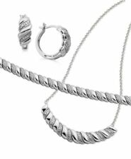 Macy's Diamond Accent Silver Plated Necklace Set C502 Value