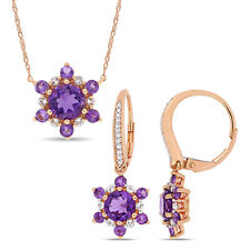 Amour 10k Rose Gold African-Amethyst White Topaz and Diamond Star Jewelry Set