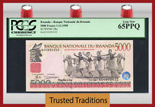 "TT PK 28a 1998 RWANDA 5000 FRANCS ""INTORE DANCERS"" PCGS 65 PPQ GEM NEW"