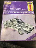 Haynes Repair Manual Fiat X1/9 1974 thru 1980 78.7 & 91.4 cu in Owners Manual