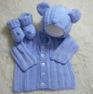 Easy dk knitting pattern instructions to knit baby boys cardigan set hbear
