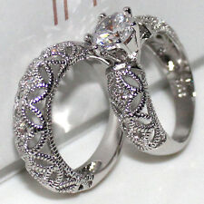 Size 9 Lovers Lady's Silver White Topaz Handmade 2-in-1 Wedding Band Ring Set