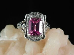 4.58 ct. Emerald Cut Pink Topaz Ring 1920's Style Filigree Sterling Silver