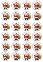 Christmas Santa  Edible Image Cupcake Toppers real icing sheet24 x 4cm #95