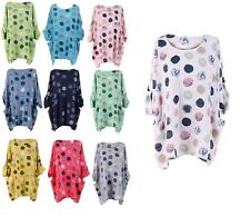 Ladies Italian Polka Dot New Multicolor Cotton Top Women Lagenlook Top Plus Size