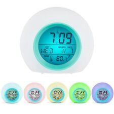 7-LED Color Change White Digital Alarm Clock Bedroom Home Gift For Children Kids