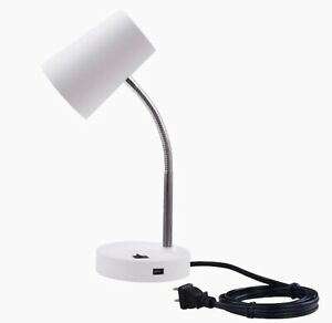 Project Source 16-in Adjustable White Desk Lamp With USB and Plastic Shade