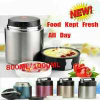 800ML Insulated Vacuum Food Flask Stainless Steel Jar Hot Lunch Soup Container
