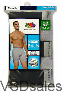 7 Black Gray Large L 36-38 Inch Boxer Briefs Fruit Of The Loom G 91-97 CM