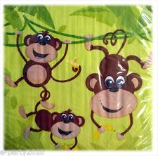 MONKEY JUNGLE LUNCH NAPKINS (16) ~ Birthday Party Supplies Large Serviettes Boy