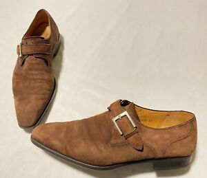 Magnanni Suede Brown Single Monk Strap Men's Shoes Size 42 ( US 9) Made In Spain