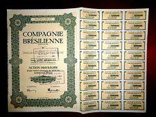 Compagnie Brésilienne  Share certificate 1946-54  Belgium-Brazil Coffee trade