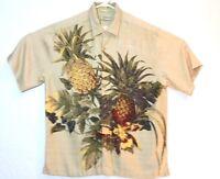 Cubavera Mens Hawaiian Camp Aloha Shirt Floral Pineapple Biege S/S Size Large