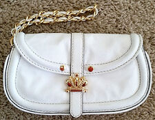 Juicy Couture white leather gold crown chain strap wristlet clutch purse