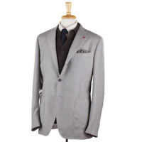 NWT $2995 ISAIA 'Tenero' Gray and Cream Check Unstructured Wool Sport Coat 44 R