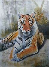 Hand Painted Original Watercolor MAJESTIC TIGER Wildlife Zoo Signed by JV
