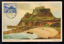 1944 Occupied Jersey England Picture Postcard Cover Mount Orguel Castle Scene