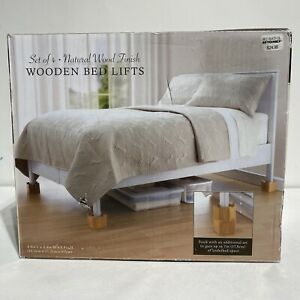 """Wooden Bed Lifts Natural Wood Finish Set Of 4 Add 3.5"""" Space 4.4""""Lx4.4""""Wx3.8""""H"""