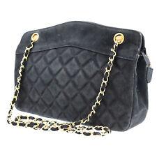 b70c0380edf0 CHANEL Quilted Matelasse Shoulder Bag Black Suede Vintage France Authentic  #Z72