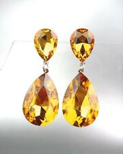 Queen Pageant Prom Earrings 2631 Glitzy Golden Brown Czech Crystals Bridal
