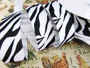 "25 yards Wild Zebra Stripe Grosgrain 7/8"" Ribbon/Craft/Animal/Color R110-78-Roll"