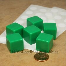 NEW 6 19mm Six Sided Green Blank Dice Set D&D RPG Game