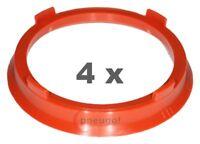 4xZentrierring Kunststoff 66.6mm auf 57.1mm rostbraun