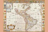 Antique Map of the New World 1626 Mural inch Poster 36x54 inch