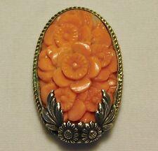 Antique Art Deco Floral Carved Pink Coral Sterling Silver Brooch Dress Clip