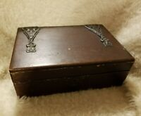 Antique Wooden Jewelry Box Ornate Metal Victorian Era  Velvet Lining