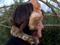 REAL Handmade Indian Rabbit Raccoon FUR Ear Muffs & Stoll Collar Womens SET 2 @