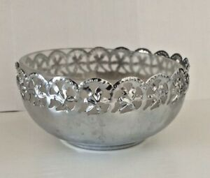 Vintage 1960s Stainless Steel Milky Glass 7 cm Diameter Candy Bowl Milan Italy