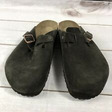Birkenstock Boston Taupe Suede Leather Mules Clogs Slides Men's 13 US 46 EU