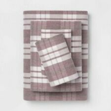 Threshold Printed Flannel Sheet Set Purple Plaid Queen NEW