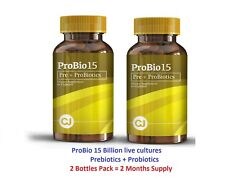 ProBio 15 Billion Prebiotics and Probiotics Live Active Cultures( 2Bot x 60Caps)