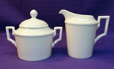VINTAGE KAISER CHINA KAI2 SMALL CREAM & SUGAR SET WHITE W/ BEADED EDGE GERMANY