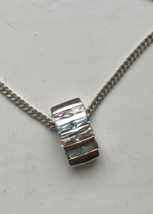 Solid Silver 925 Blue And Clear Cubic Zirconia Modern Pedant On Chain
