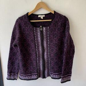 Coldwater Creek Women's Zip Up Cardigan Size L Purple Wool Blend Boho Hippie