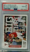 Patrick Mahomes 2017 Panini Score Big Man On Campus Rookie rc psa 10 hot rookie